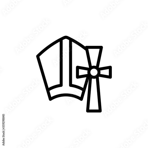 Fototapeta Religion, cross concept line icon. Simple element illustration. Religion, cross concept outline symbol design from Italy set. Can be used for web and mobile obraz