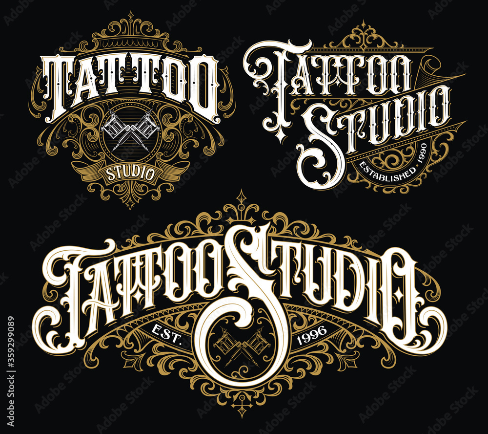 Fototapeta Vintage tattoo lettering logo set. Highly detailed tattoo emblems, logo, badges and t-shirt graphics.