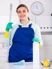 Woman Cleaner Is Ready To Clea...