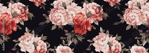 Obraz Seamless floral pattern with peony flowers on summer background, watercolor. Template design for textiles, interior, clothes, wallpaper. Botanical art - fototapety do salonu