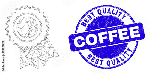 Fotografía Web carcass award seal pictogram and Best Quality Coffee seal stamp