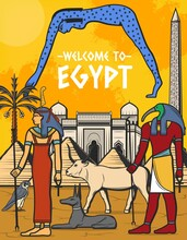 Egypt Travel Poster, Egyptian Pyramids, Ancient Pharaoh Landmarks, Cairo And Giza City Tourism, Vector. Welcome To Egypt Pharaoh Pyramids, Mosques Architecture, Deity And Wonders Travel Tours