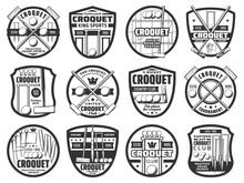 Croquet Sport Icons, Equipment...