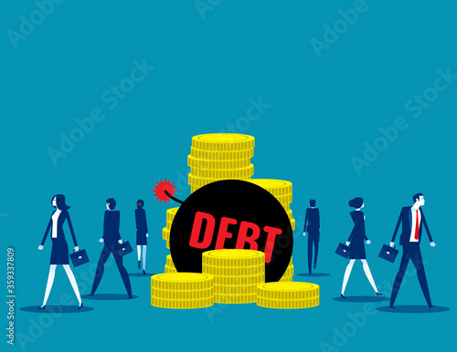 People walk away from debt. Business finance and economy concept Canvas Print
