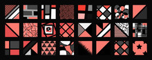 Big Set Of Geometric And Abstract Backgrounds, With Modern And Contemporary Vector Illustrations In Pink, Gray, White And Black, For Pillow Covers, Wall Pictures Or Other Decorative Items.