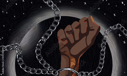 Photo black hands chained, broken chains, structural racism, black planet earth, black lives matter, stop killing black people, police violence, anti-racist, racism, multicultural, diversity, illustraction
