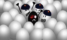 3D Vector Illustration, Structural Racism And Police Violence Against Blacks, White Eggs With Police Cap Attacking A Black Egg, Blood, Black Lives Matter, Anti Racism, Stop Killing Black People