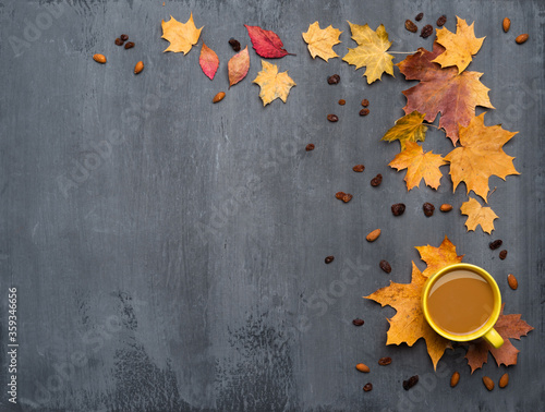 Obraz Seasonal autumn background. Frame of colorful maple leaves and a cup of hot drink, coffee, latte or cappuccino, nutmeg and cinnamon over grey. - fototapety do salonu