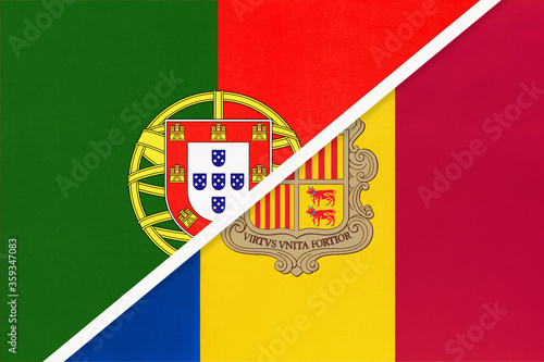 Photo Portugal and Andorra, symbol of national flags from textile