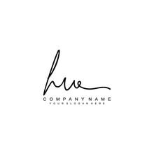 HU Initials Signature Logo. Ha...