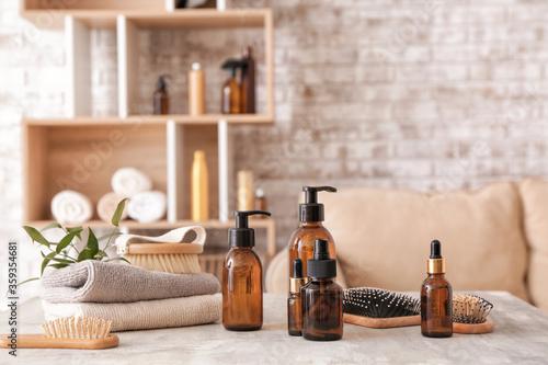 Fototapeta Set for hair treatment on table obraz