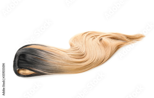 Foto Female wig on white background