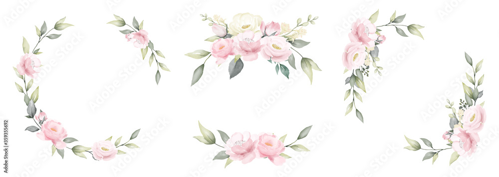 Fototapeta Set of rose flower watercolor frame wreath design pink and white bouquet flower design vector.