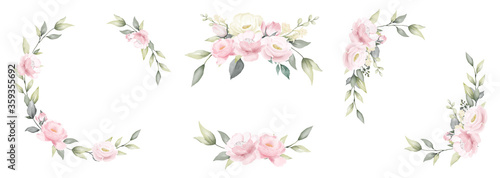 Set of rose flower watercolor frame wreath design pink and white bouquet flower design vector. #359355692