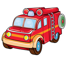 Fire Brigade Car In Red, Retro Style, Cartoon Illustration, Isolated Object On A White Background, Vector Illustration,