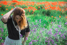Redhead Woman In Vintage Blouse And Lace Skirt At Poppies Field, Fashionable Style For Ladies