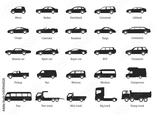 Car Type and Model Objects icons Set .Vector black illustration isolated on white background. Variants of automobile body silhouette for web.