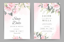 Rose Floral Watercolor Wedding Invitation Set Card Template Design With Pink Watercolor Background Bouquet Vector.