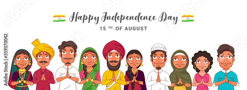 Fotografija Different Religion People Doing Namaste (Welcome) Show Unity in Diversity of India for 15th August, Happy Independence Day Celebration