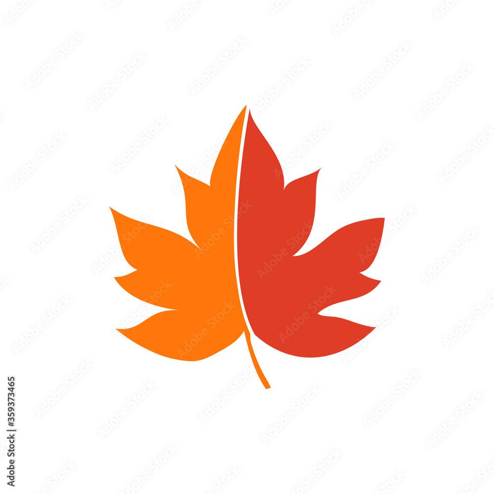 Fototapeta Concepto otoño. Icono plano hoja de arce en colores naranja
