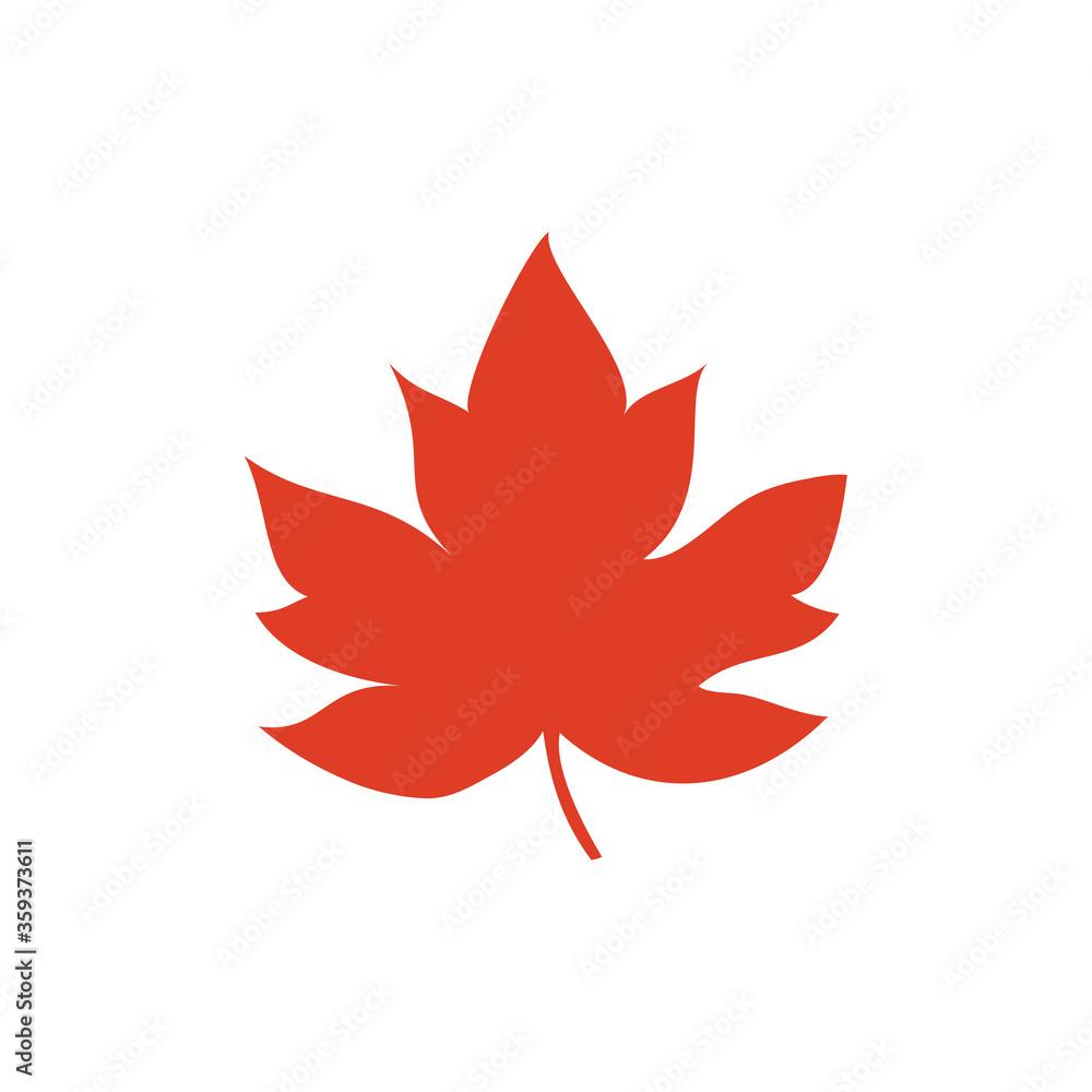 Fototapeta Concepto otoño. Icono plano hoja de arce en color naranja