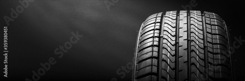 Stampa su Tela black isolation rubber tire, on the grey backgrounds