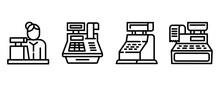 Cashier Icons Set. Outline Set...
