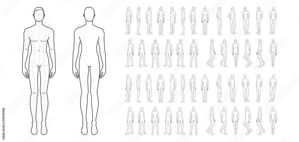 Fototapeta Fashion template of 50 men.