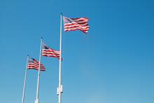 Three USA Flags In A Row