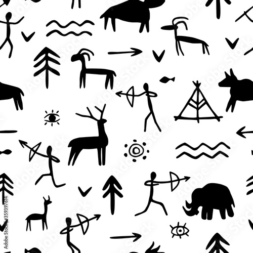 Fototapeta Vector seamless pattern with rock paintings of prehistoric humans, animals, weapons