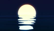 Sun Setting Over The Ocean, Da...