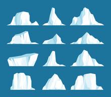 Vector Set Of Floating Iceberg...