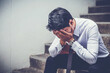businessman worried and tired on business unsuccessful,Stressed business concept, business decision for strategy startup of business investment