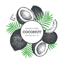 Coconut With Palm Leaves Desig...