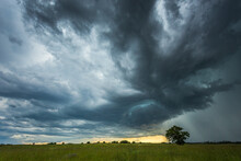 Supercell Storm Clouds With In...