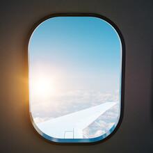 Aircraft Porthole With Blue Sky