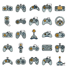 Joystick Icons Set. Outline Se...