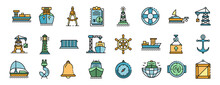 Marine Port Icons Set. Outline Set Of Marine Port Vector Icons Thin Line Color Flat On White