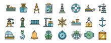 Marine Port Icons Set. Outline...