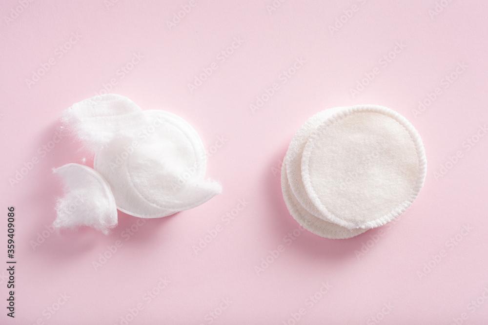 Fototapeta zero waste eco friendly hygiene bathroom concept. single use and reusable washable cotton pads