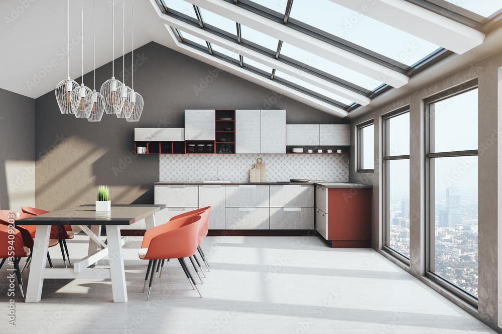 Cozy loft kitchen interior with furniture