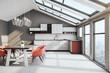 Leinwandbild Motiv Cozy loft kitchen interior with furniture