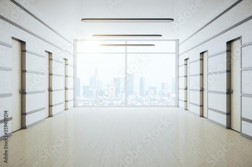 Contemporary office corridor with panoramic city view Fototapeta