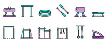 Gymnastics Equipment Icons Set. Outline Set Of Gymnastics Equipment Vector Icons Thin Line Color Flat On White