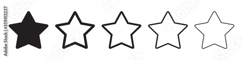 Obraz na plátně Star icons in five different versions in a flat design