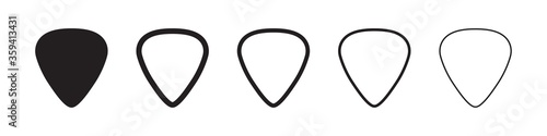 Obraz na plátně Guitar pick icons in five different versions in a flat design