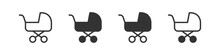 Baby Carriage Icons In Four Di...