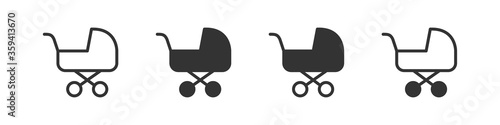 Baby carriage icons in four different versions in a flat design Wallpaper Mural