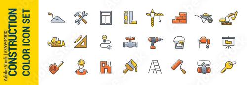 Building construction vector line color icon set Fototapet