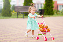 Beautiful  Cute Baby Child Plays With Baby Stroller Caring Positive Association Care .walk Rest In The Park With Mom